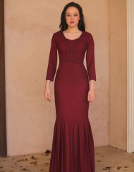 bordeaux sleeved dress