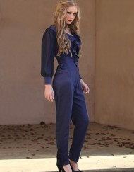 stretch satin jump suit